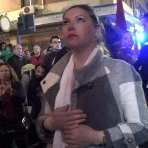 Montse Pérez, saeta por Carceleras a la Virgen de Gracia y Amparo con San Juan Evangelista   2018